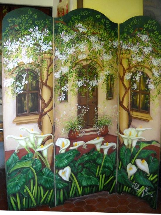Biombo divisor de ambientes artesanal madera decoraci n for Biombos para jardin